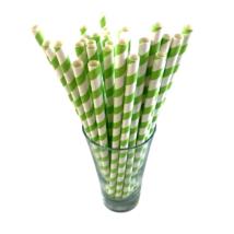 Papír szívószál 6mm zöld csíkos (500db/csomag)