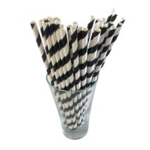 Papír szívószál 6mm fekete csíkos (500db/csomag)
