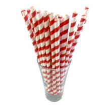 Papír szívószál 8mm piros csíkos (500db/csomag)
